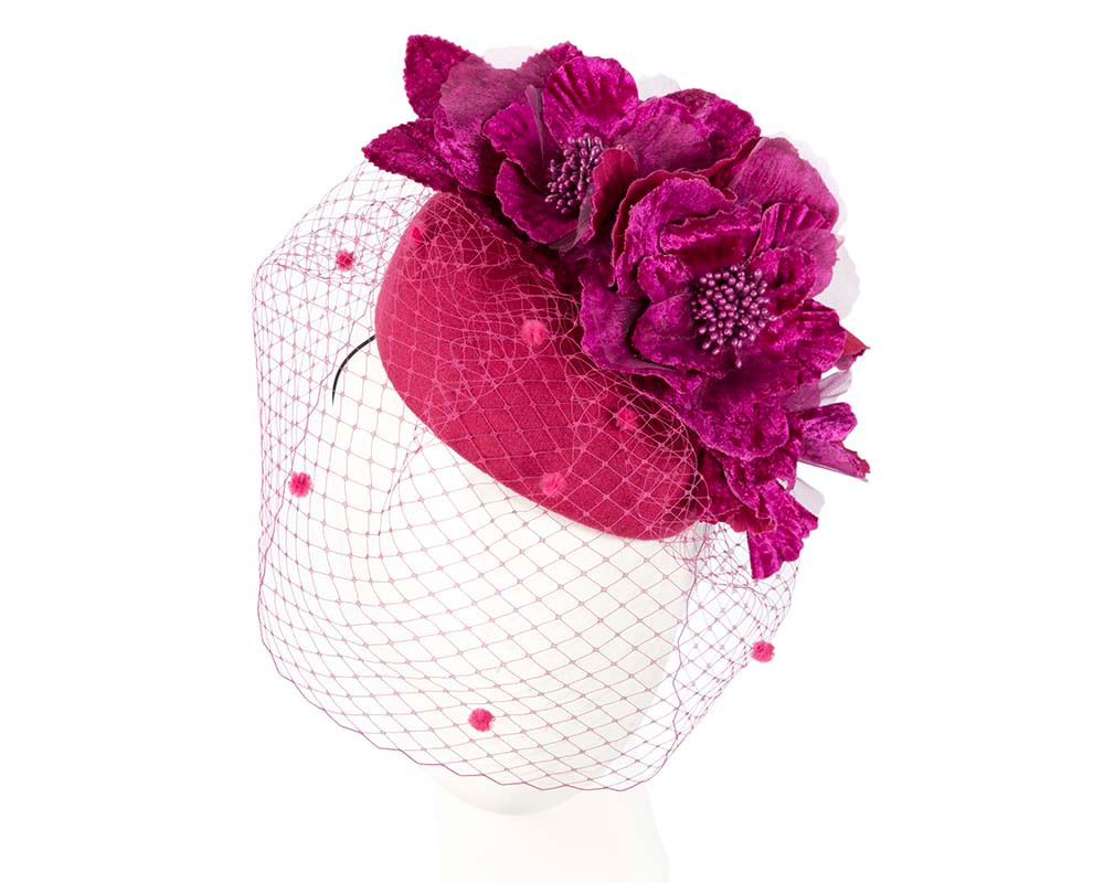 Fuchsia winter racing felt pillbox with flower and veiling by Fillies Collection