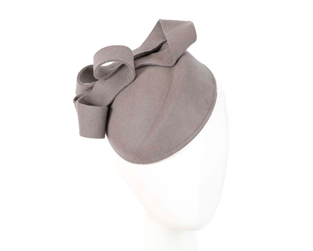 Grey ladies winter felt pillbox fascinator hat by Max Alexander