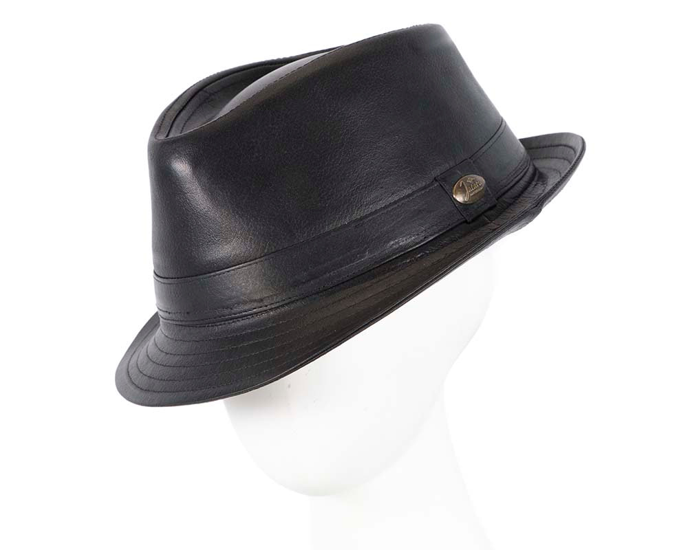 Black Kangaroo Leather Trilby Short Brim Fedora Hat
