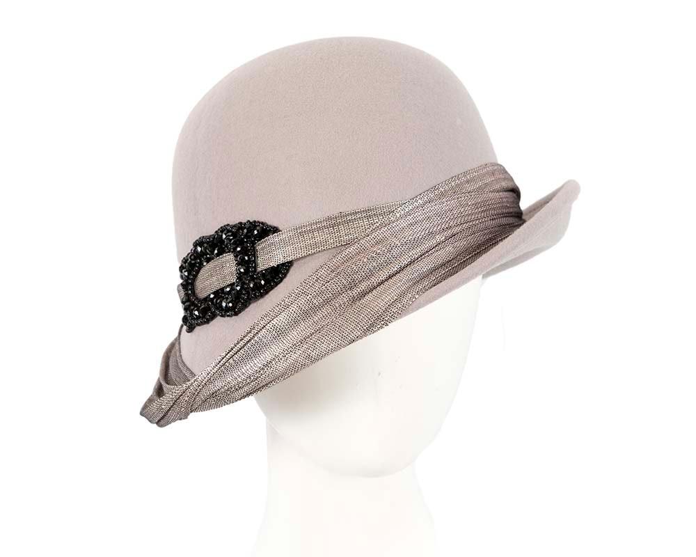 Grey felt draped cloche hat