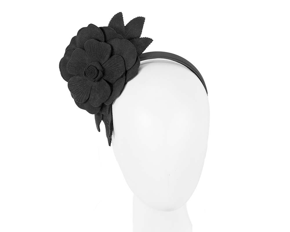Black felt flower fascinator by Max Alexander