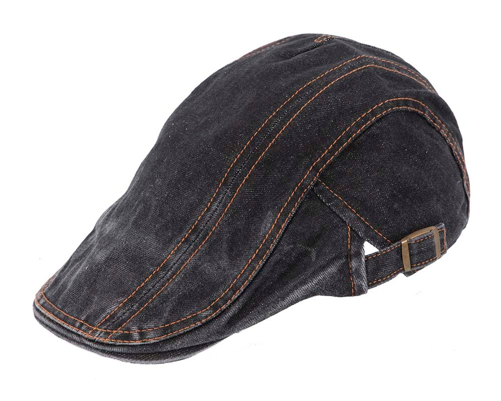 Black denim flat cap by Max Alexander
