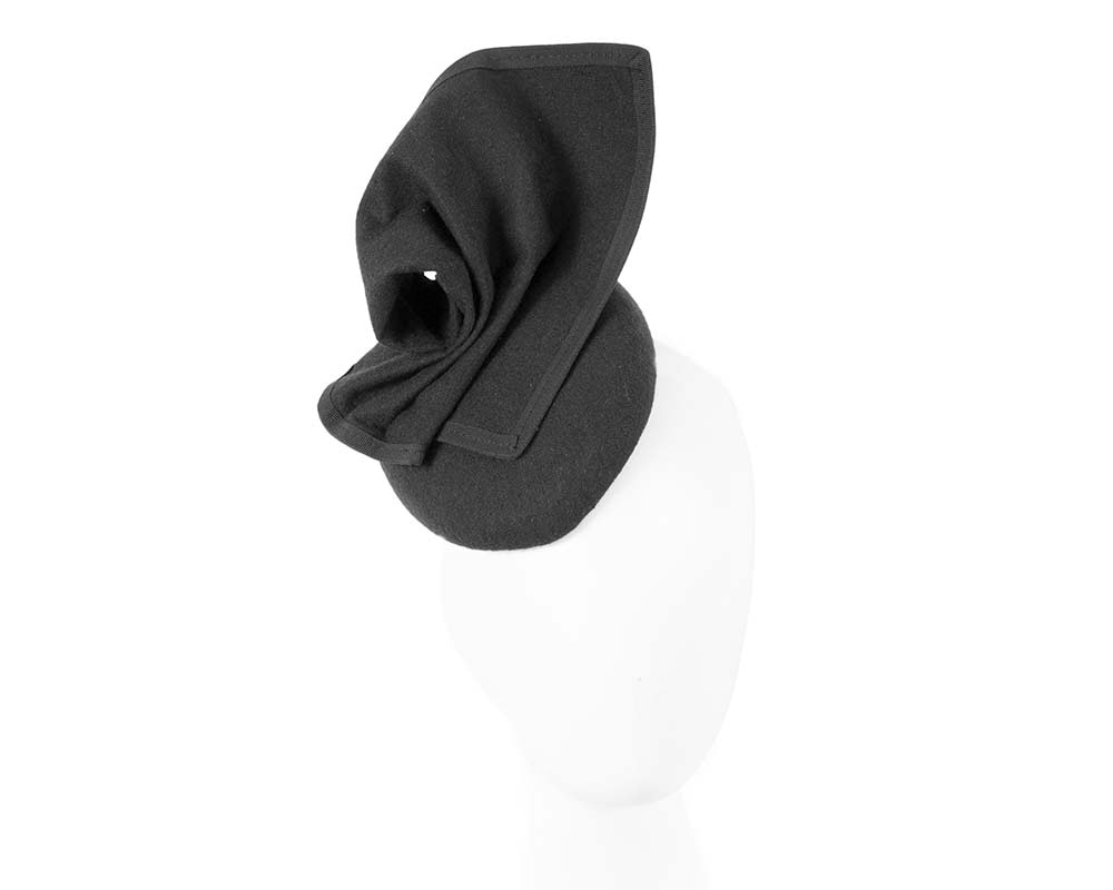 Black pillbox hat for winter autumn racing by Max Alexander