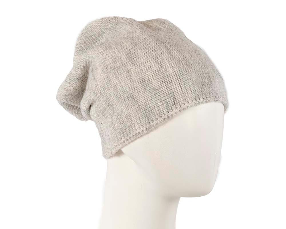 European made woven light grey beanie