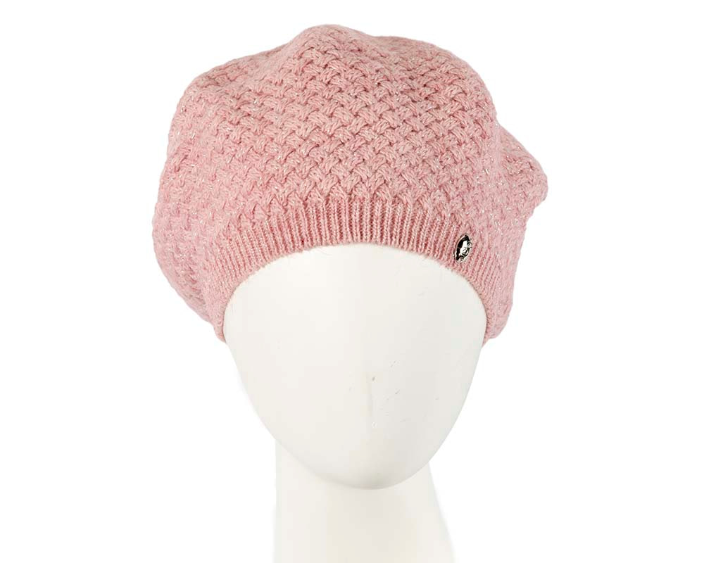 Crocheted wool pink beret by Max Alexander