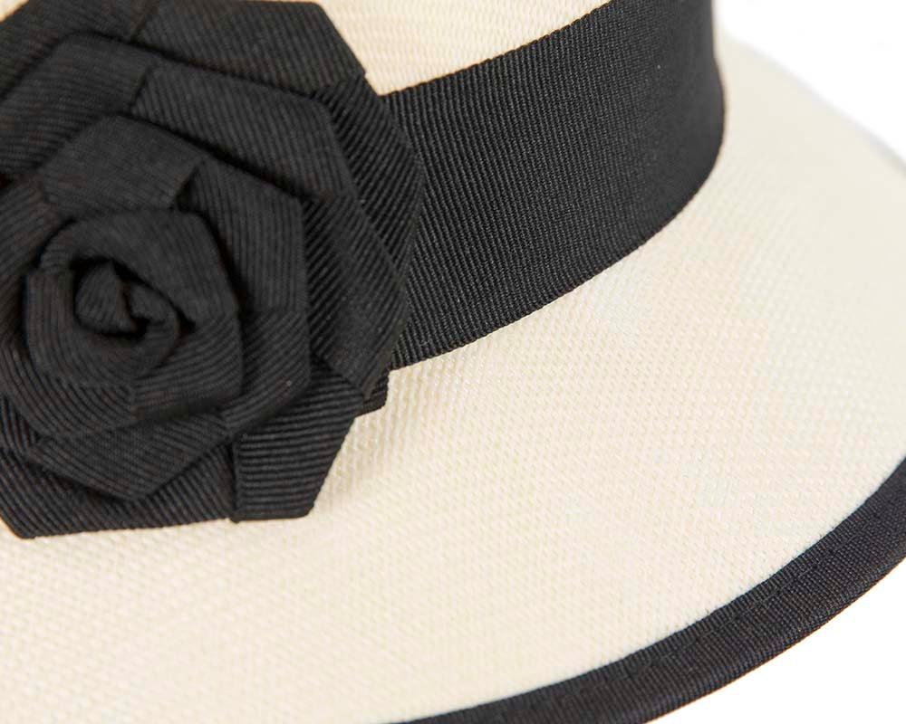 Cream & black cloche hat