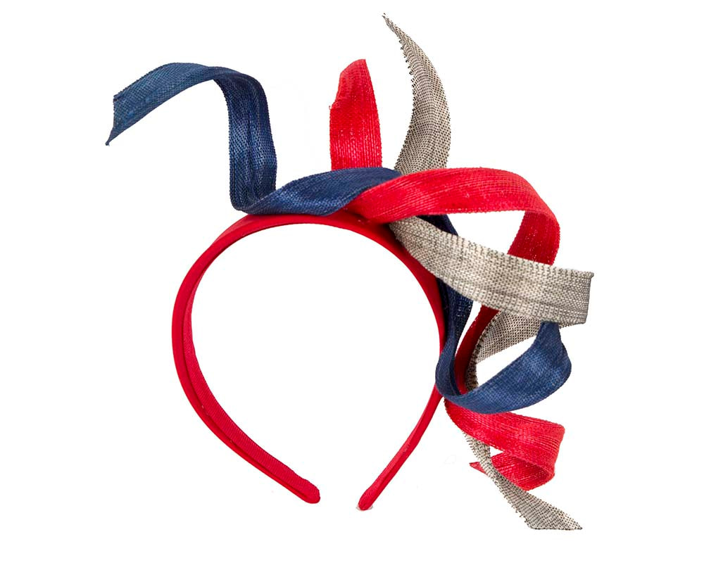 Red blue and silver exclusive fascinator