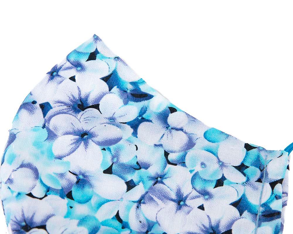 Comfortable re-usable cotton face mask blue flowers