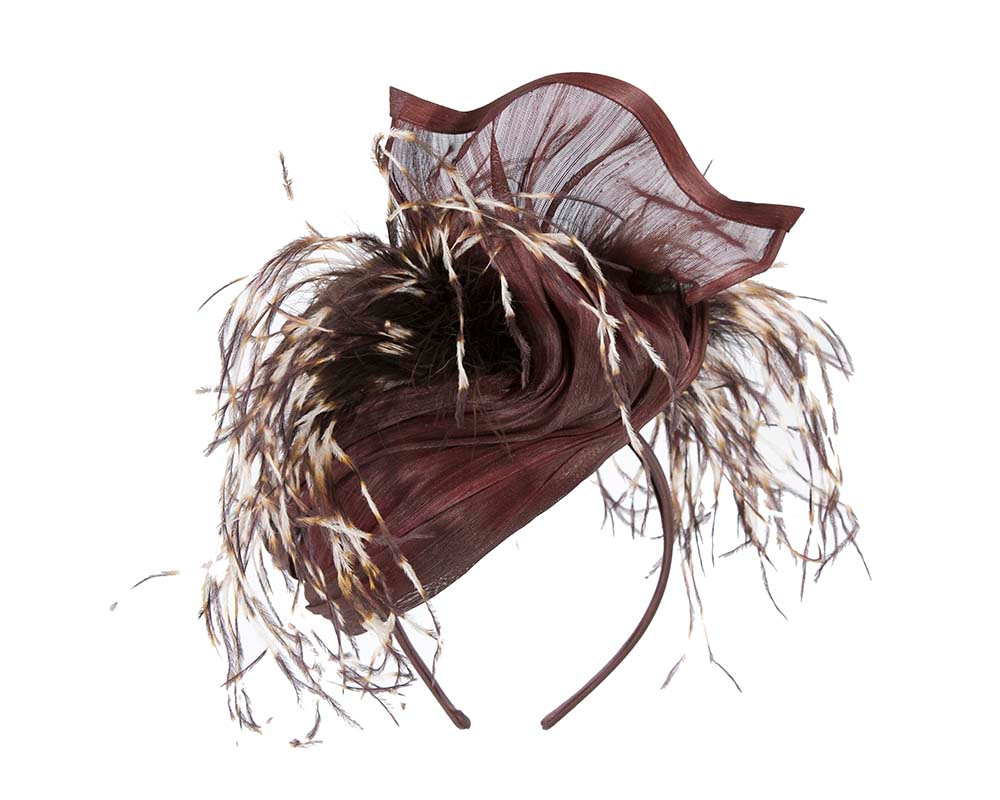 Exclusive chocolate fascinator оstriсh feathers