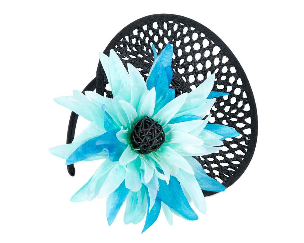 Black fascinator with aqua flower