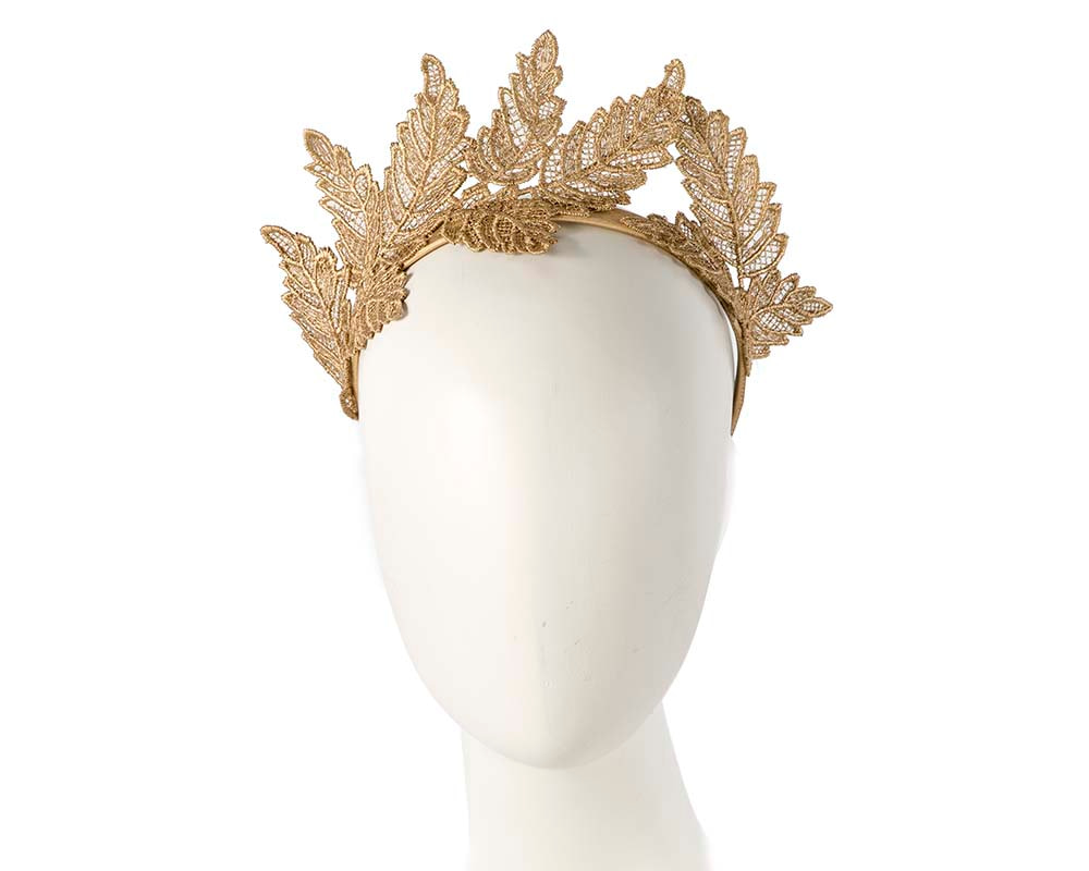 Gold lace crown racing fascinator by Max Alexander