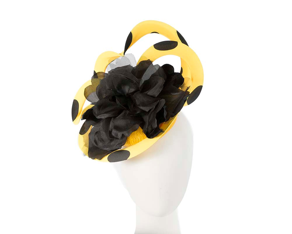 Unusual yellow & black Fillies Collection fascinator