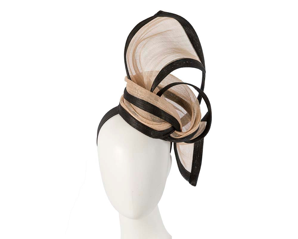 Exclusive nude & black tall fascinator for Melbourne Cup races