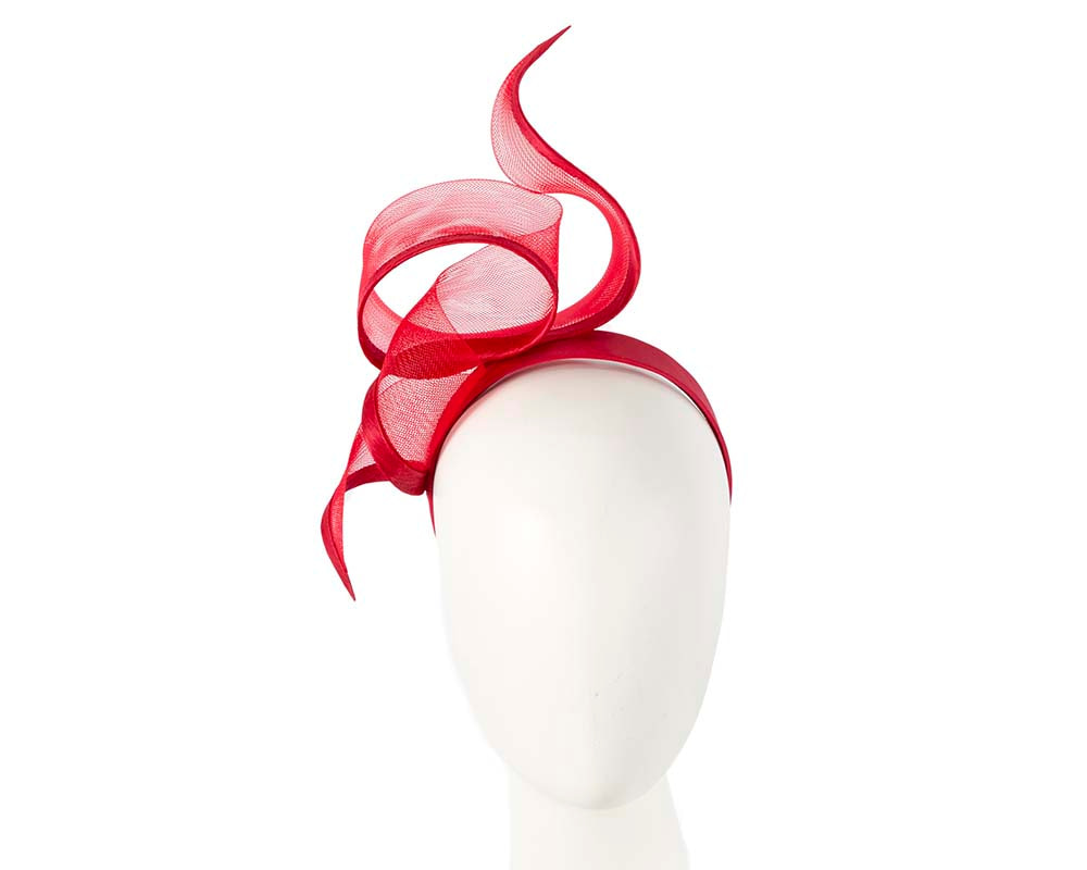 Sculptured red racing fascinator by Fillies Collection