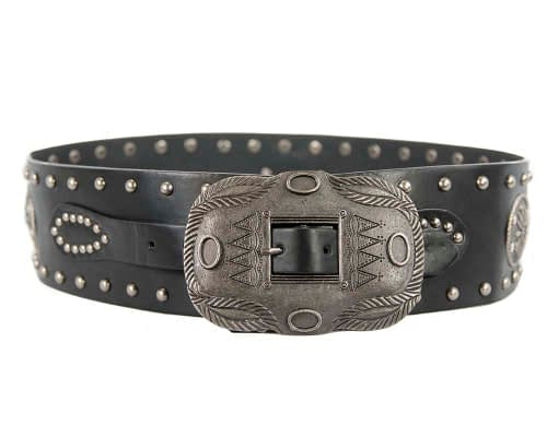 black ladies leather belt