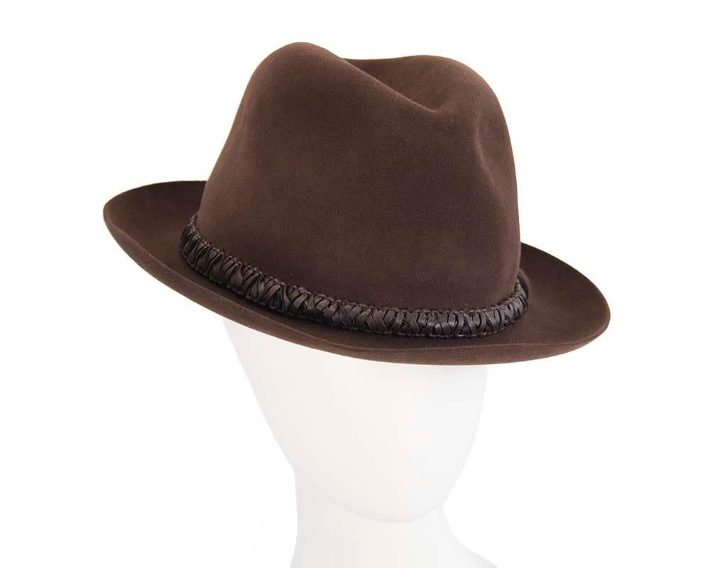 Brown unisex rabbit fur fedora hat with leather trim