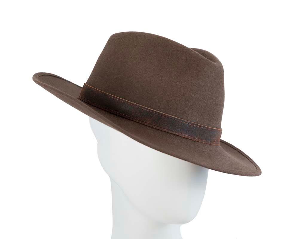Brown rabbit fur unisex wide brim fedora hat