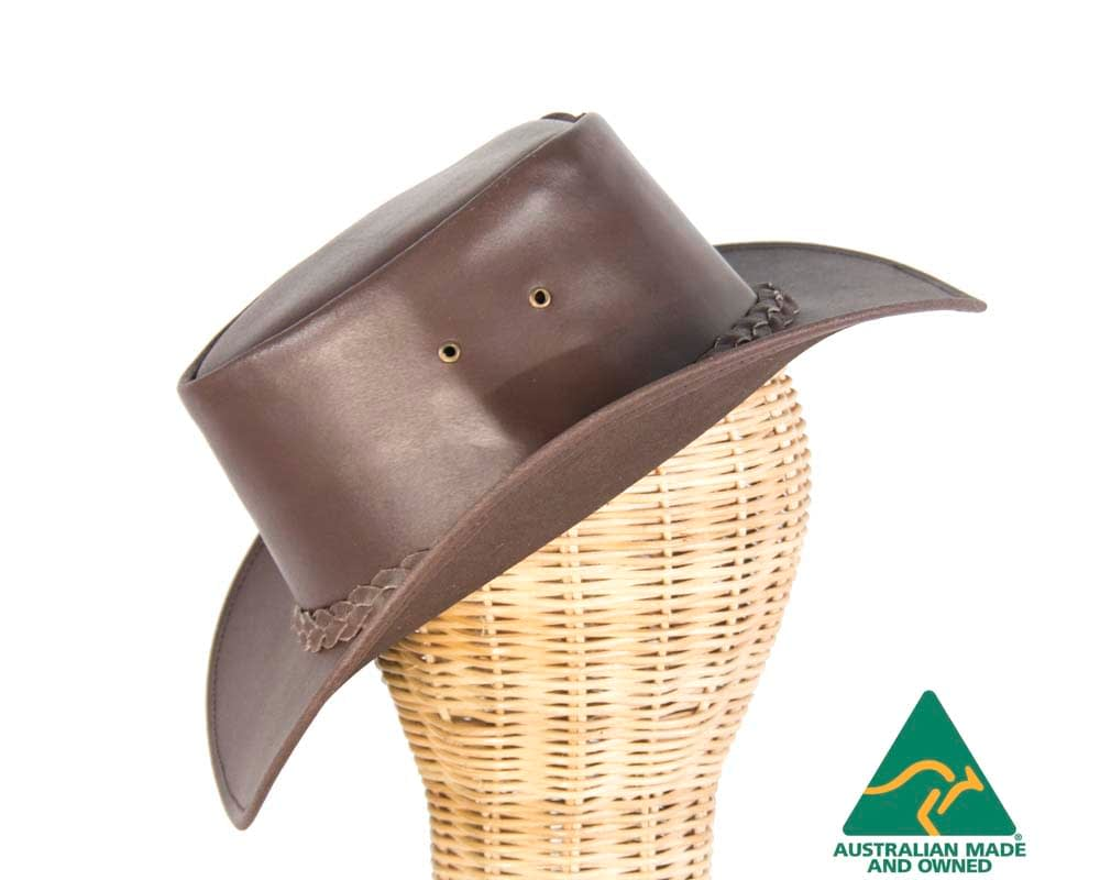 Brown buffalo leather Australian bush outback hat