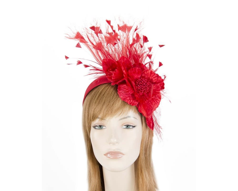 Red designers flower fascinator